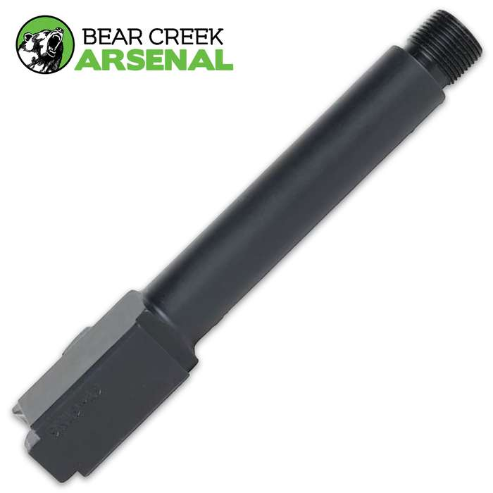 The BCA Threaded Replacement Barrel for OEM Glock 19 handguns is manufactured by Bear Creek Arsenal in Sanford N.C.