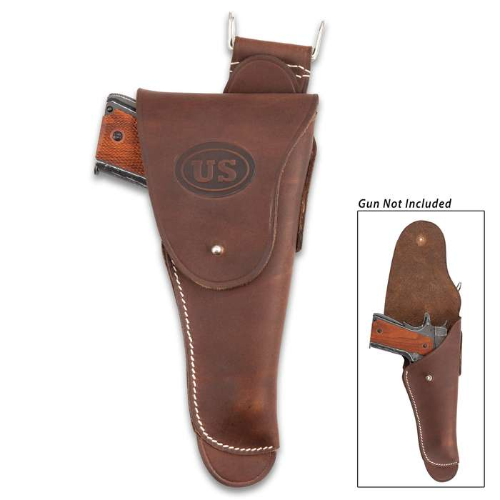 US M1916 Full-Size Pistol Holster - Fits 1911 Colt Pistol -  Premium Leather, Top-Stitching, Metal Stud Closure, Metal Hook And Belt Thru-Slots - Reproduction