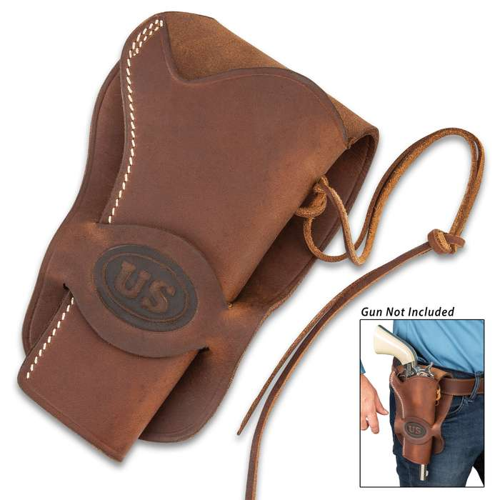 """US Cavalry Six-Gun Revolver Holster - Premium Leather, Top-Stitching, Leather Securing Thongs, Belt Loop Flap - Length 8 1/4"""""""