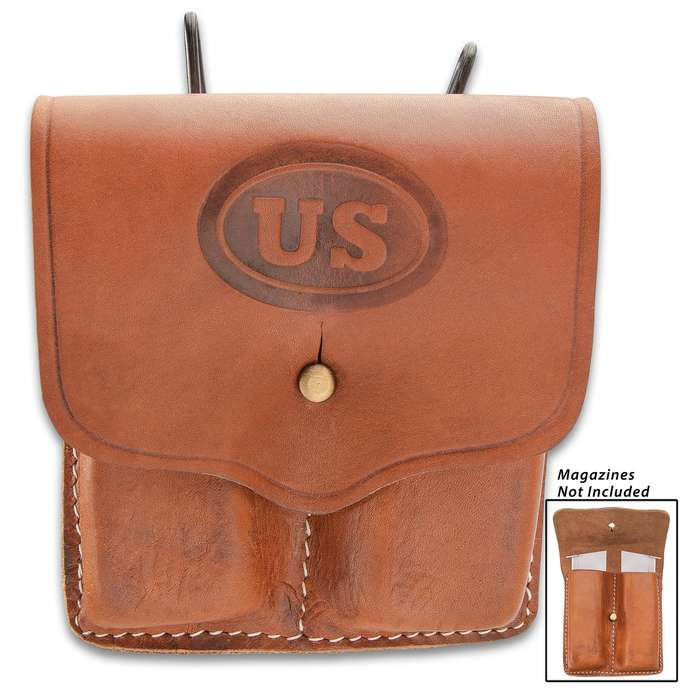 US 1911 Colt Pistol .45 Double Magazine Pouch - Replica, Premium Leather Construction, White-Top Stitching, Brass Belt Hanger And Snap