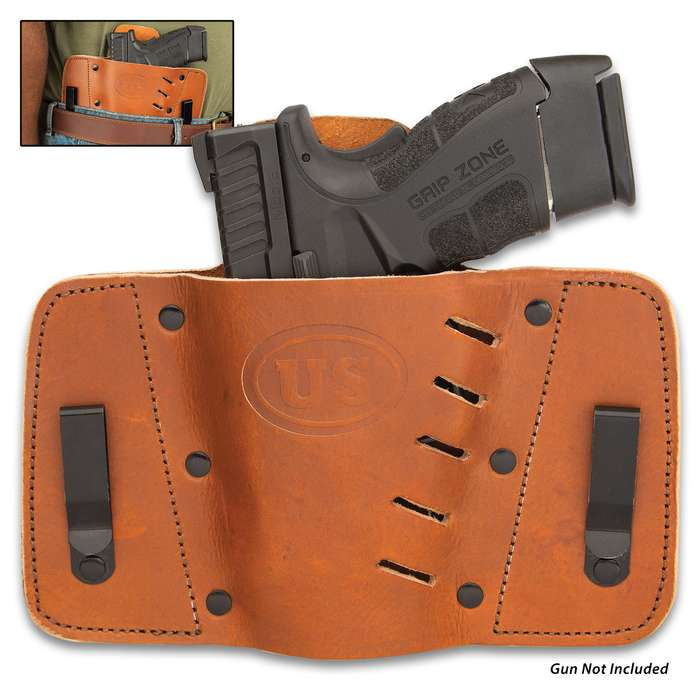 The Western-style US Cavalry Inside The Waist Pistol Holster is handsome and perfectly suited to discreetly carry your pistol, giving you quick and easy access to it