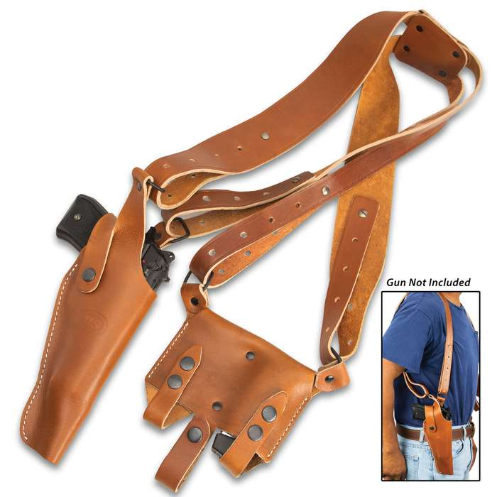 This shoulder holster is handsome and perfectly suited to securely carry your pistol, giving you quick and easy access to it