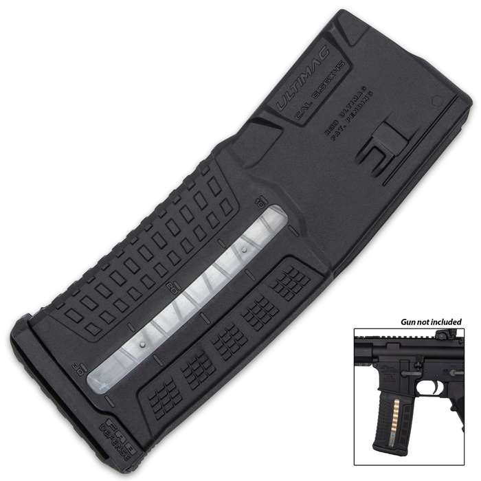 It is compatible with 5.56x45 NATO (.223 Remington) rounds and is compatible with M16, M4 and AR15 weapons