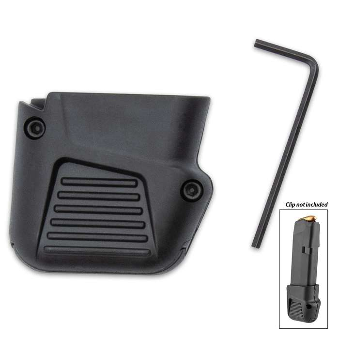 The Glock 43 Plus Four is a magazine floor-plate replacement that adds four rounds for a total of 10 rounds in a magazine