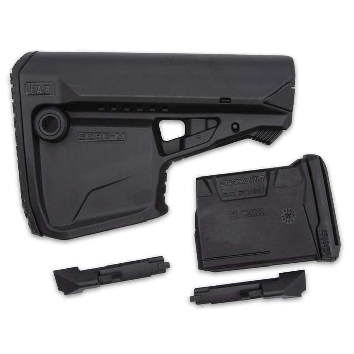 The FAB Defense Black M4 Buttstock has an integrated AR 5.56 magazine carrier, optimized for a rapid magazine change