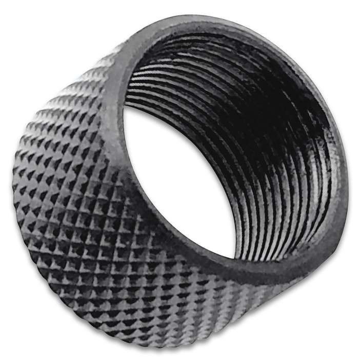 Easily protect your 16mm x 1 LH pistol threads with this premium knurled thread protector for years