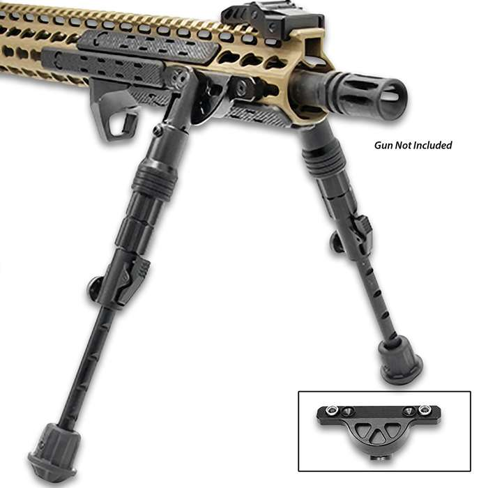 """The bipod directly attaches to Keymod handguards at the 3 and 9 o'clock positions and is center height adjustable from 5 7/10"""" to 8"""""""
