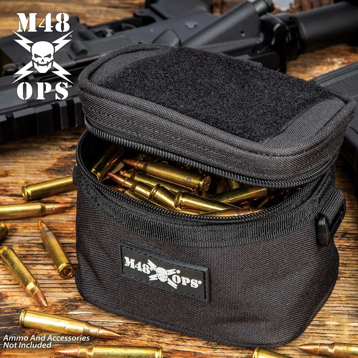 """M48 Soft-Side Black Ammo Bang Box - 600D Polyester Construction, Zipper Closure, ABS Loop On Each Side - Dimensions 5 1/4""""x 4 1/4"""""""