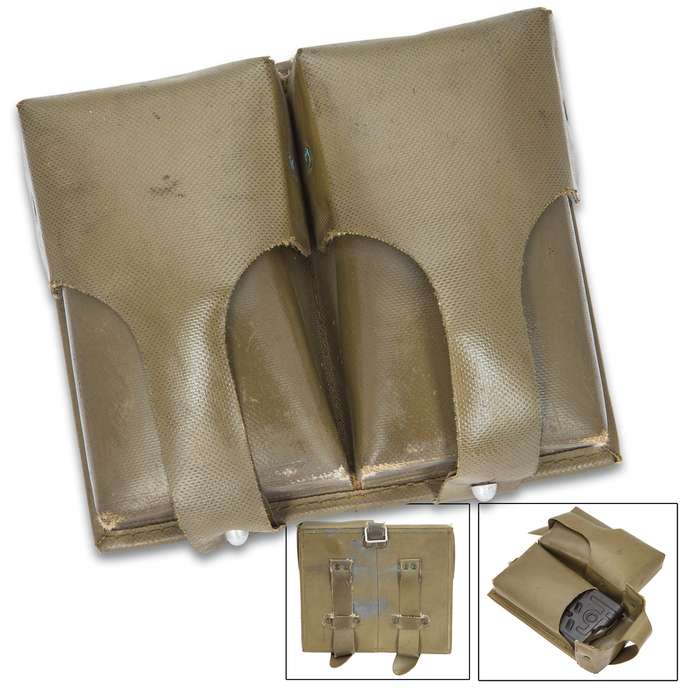 German G3 Old Style Double Magazine Pouch - Genuine Military Surplus; Used, Excellent Condition - OD Green - Rubberized Vinyl - Holds Two 20-Round .308 Magazines and Wide Range of Other Mags, Ammo