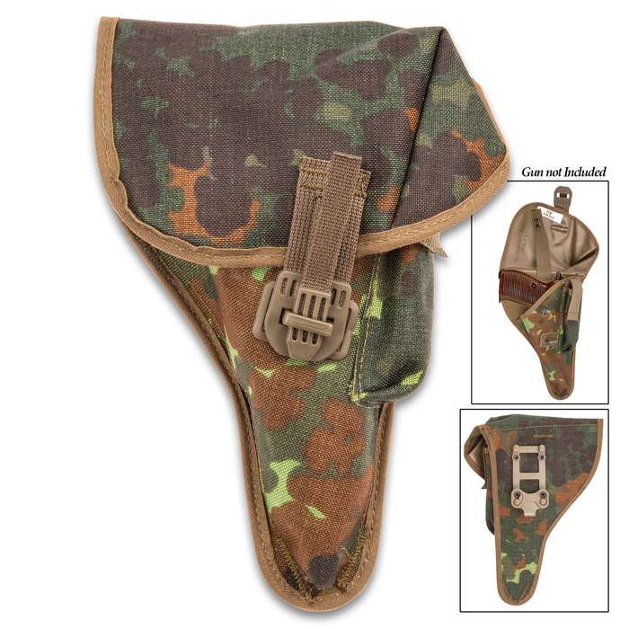 Authentic German Walther P1/P38 Holster - New, High-Strength Nylon Construction, Snap-Cinch Strap Closure, Mag Pouch