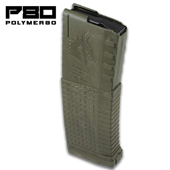 The Polymer80 AR-15 Magazine holds up to 30 rounds of 5.56 and .223 ammunition and is constructed from a heavy-duty but lightweight polymer
