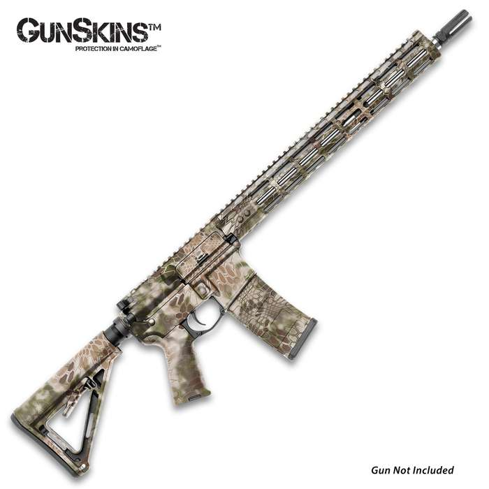 The GunSkins AR-15 Kryptek Highlander Rifle Skin allows you to conceal, protect, and customize your AR-15 or M4 carbine