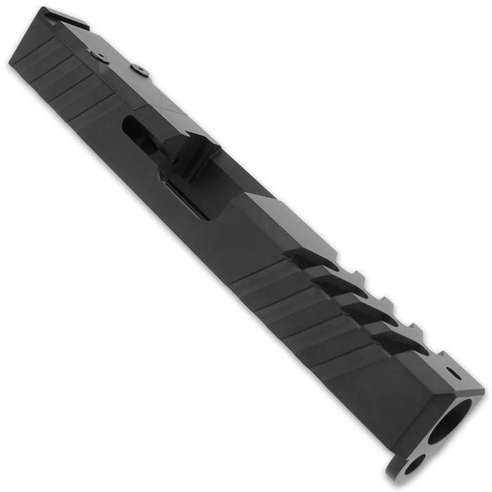 This slide is machined with an RMR cut with a cover plate and lightning cuts, making it precisely fit a Trijicon RMR
