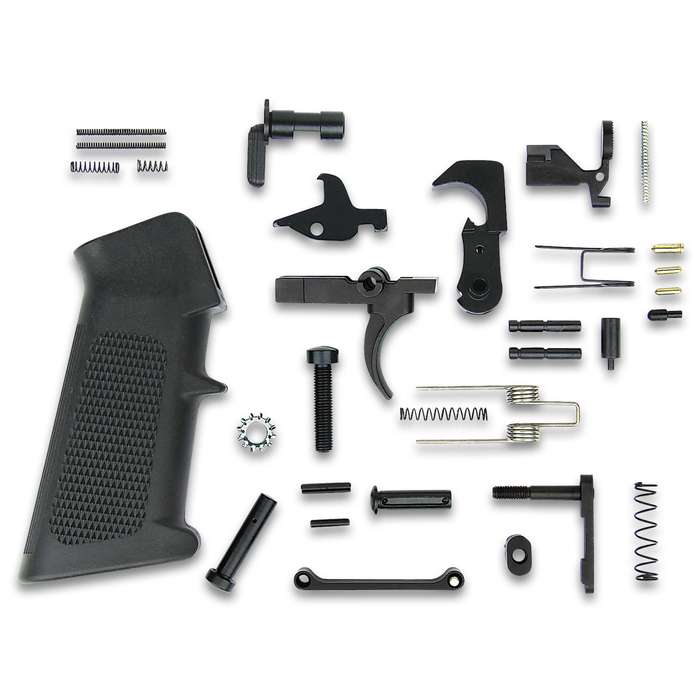 """TacFire AR15 Lower Parts Kit With A2 Grip - .223/5.56, Complete Kit, High-Quality Materials, USA Made - Length 14"""""""