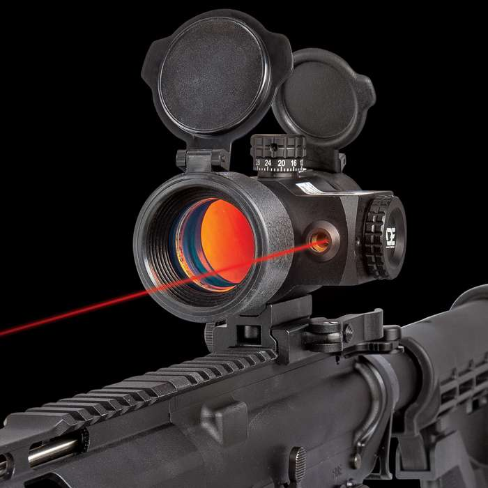 """Tactical Reflex Dot Sight With Red Laser - Anodized Aluminum Alloy Construction, Built-In Mount, Adjustable For Wind - Length: 4 4/5"""""""