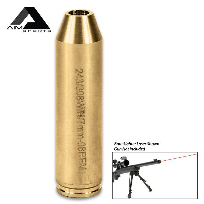 AIMS .243/.308 Win/7MM-08 Rem Laser Bore Sighter - Brass Construction, Red Laser, 5mW Power, 635/655NM Wavelength, Weighs 2.20 Oz