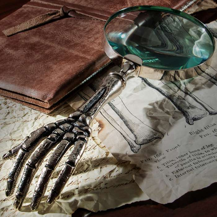 """Skeleton Hand Magnifying Glass - High-Quality Nickel And Glass Construction - Length 10 1/2"""", 4"""" Diameter Glass"""