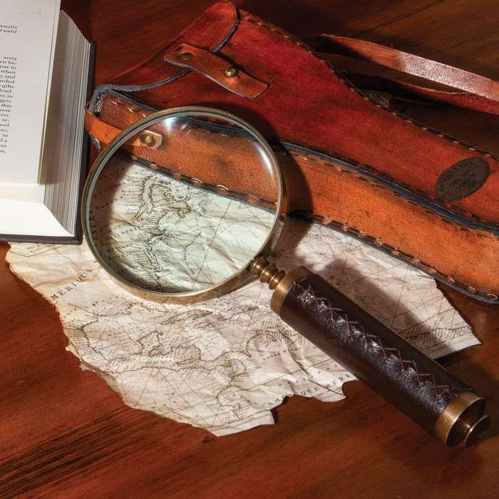 """Antique Magnifying Glass With Leather Case - High-Quality Brass Construction, Genuine Leather Grip - Length 9 1/4"""""""