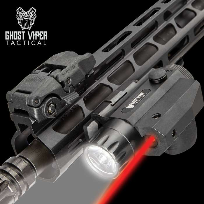 Ghost Viper Tactical 300 Red Laser And Flashlight Combo - 300 Lumens Sturdy TPU Housing, Weapons Mount Clamping Block, Windage/Elevation Adjustment