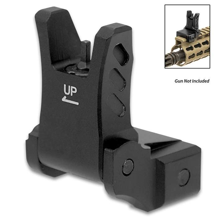 A flip-up front sight that is built for the AR platform and other long gun applications equipped with a Picatinny rail