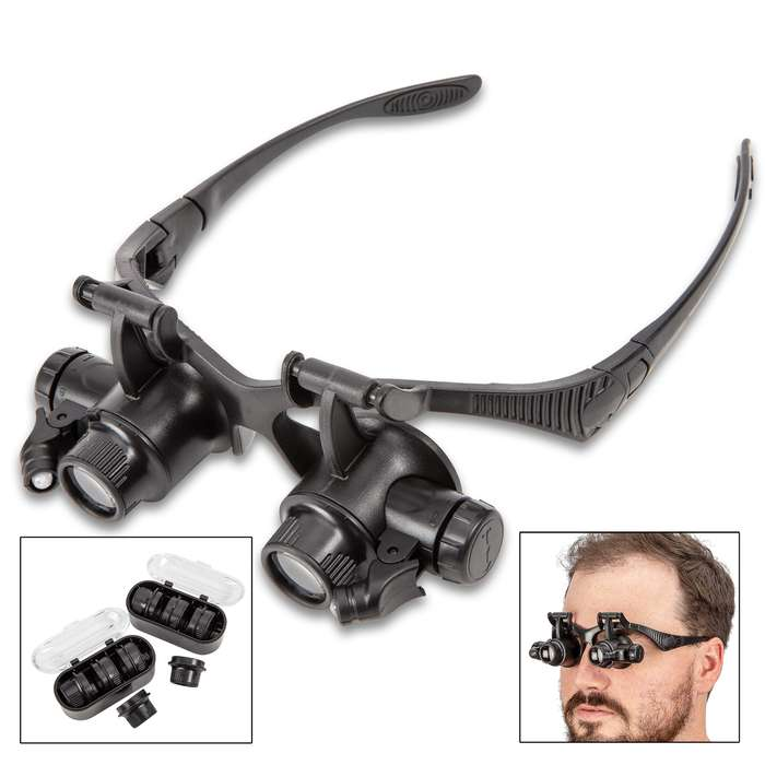 Illuminated Hands-Free Dual Loupe With Case - On Glasses Frame, LED Light, Elastic Band, Acrylic Lenses, Plastic Construction