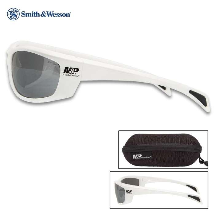 M&P Whitehawk White Shooting Glasses With Smoke Lens - Full-Frame, Non-Slip Rubber Nose And Ear Pieces