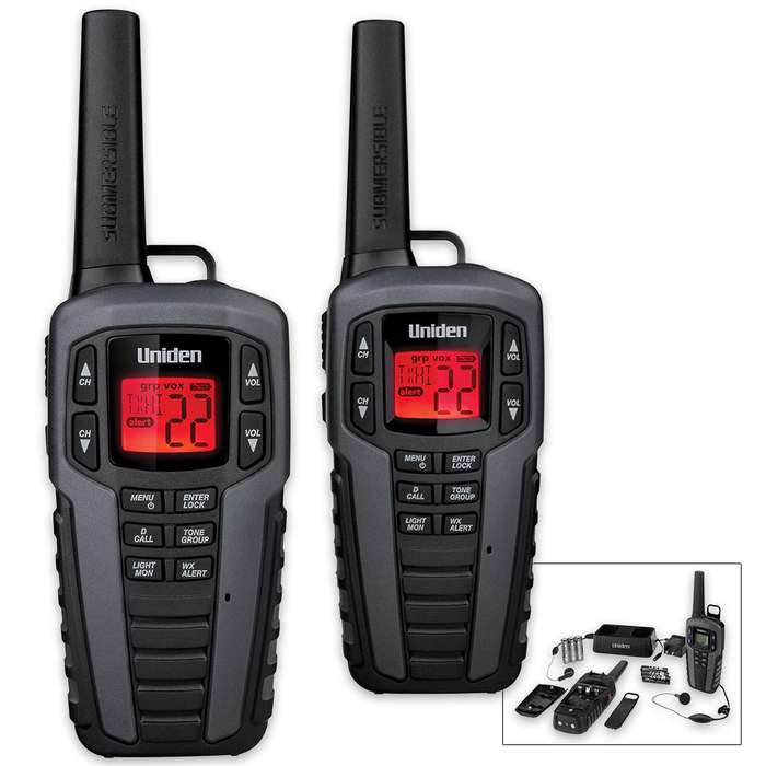 Uniden SX377 22-Channel Waterproof FRS/GMRS Two-Way Radio Set - 37-Mile Range - 2-Pack