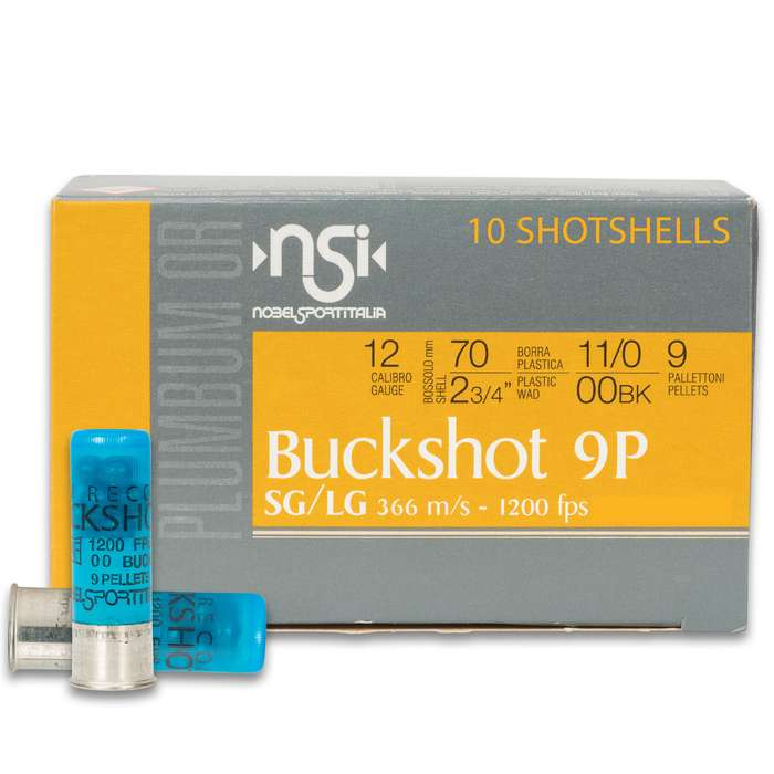 These 12-gauge rounds are built for duty use or personal defense and propel nine lead pellets of 00 buckshot at 1,200 fps