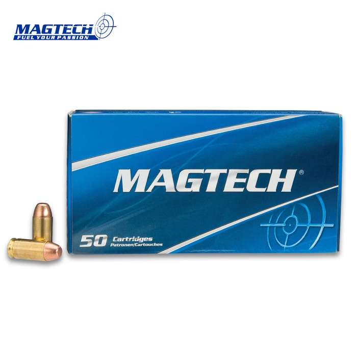 Magtech .40 Caliber / 180gr Smith & Wesson (S&W) Full Metal Jacket (FMJ) Flat Ammunition - Box of 50 Rounds - Military Law Enforcement Competition Target Match Grade