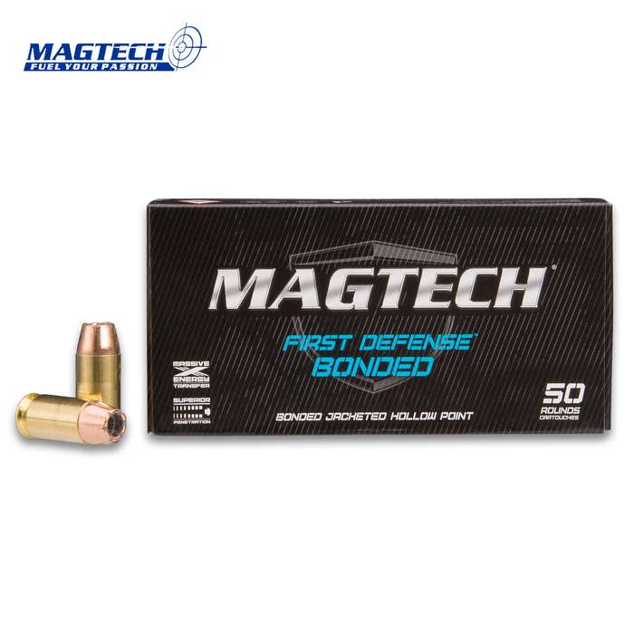 Magtech .45 Caliber / 230gr Automatic (Auto) Bonded Jacketed Hollow Point (JHP) Ammunition - Box of 50 Rounds - Military / Law Enforcement / Competition Grade - Self Defense and More
