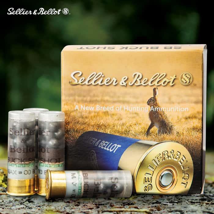 "Sellier & Bellot 12-Gauge 00 Buckshot Shells - 25-Count - 2 3/4"", 9 Lead Pellets, Plastic Hull, 1,230 FPS"