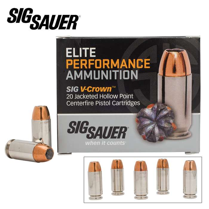SIG Sauer Elite V-Crown .40 Smith & Wesson 165gr JHP Ammo - Box of 20