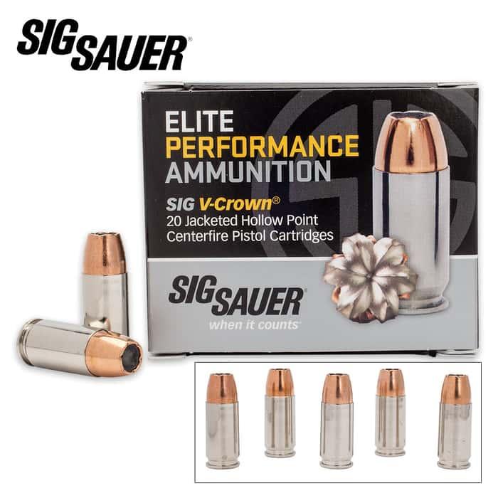 SIG Sauer Elite V-Crown 9 mm Luger 124gr JHP Ammo - Box of 20