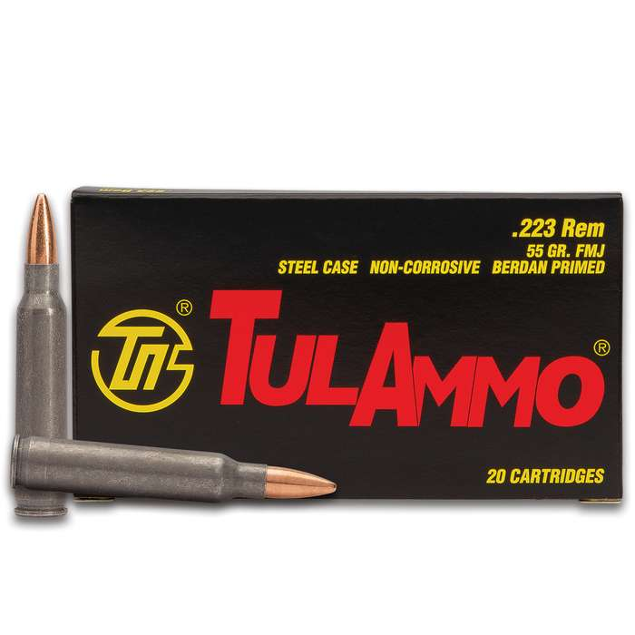 The TulAmmo .223 Rem Rifle Ammo cartridge is great for sporting and hunting shooting through bolt-action and semi-automatic rifles and carbines