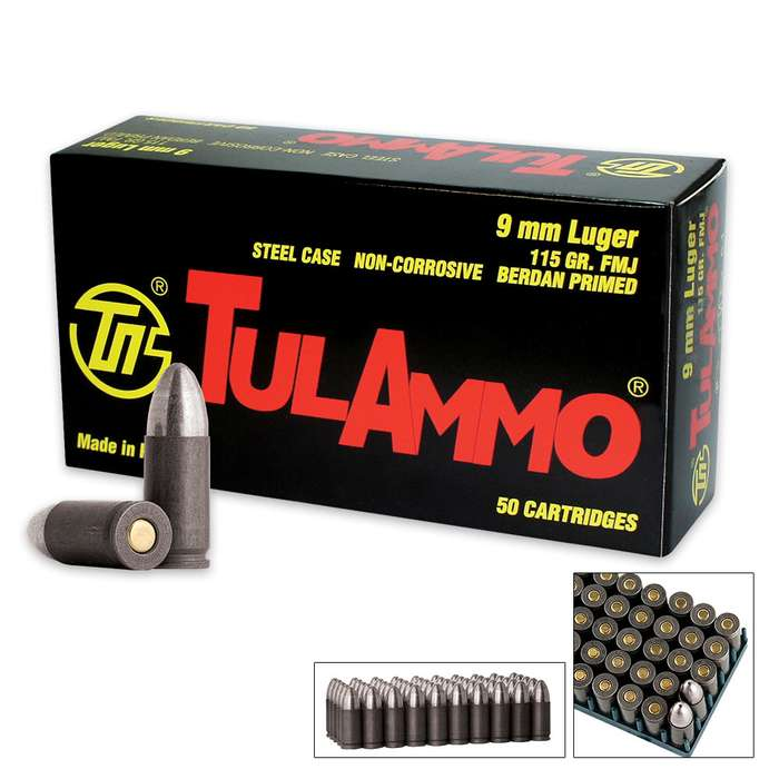 TulAmmo 9mm Luger (9x19) 115 Grain Pistol Ammo