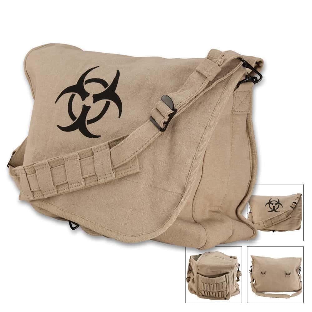 Khaki Vintage Canvas /'Bio-Hazard/' Military Style Paratrooper Shoulder Bag