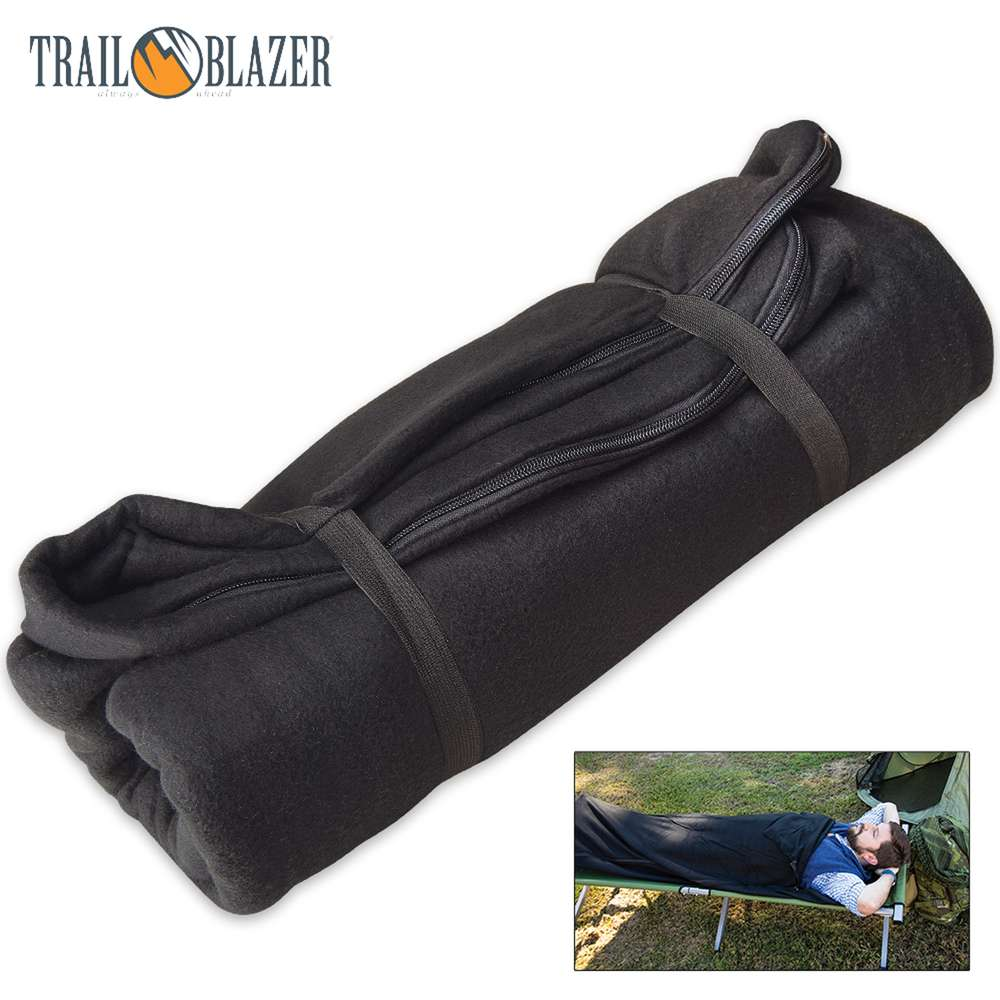 Trailblazer Fleece Sleeping Bag Liner Black
