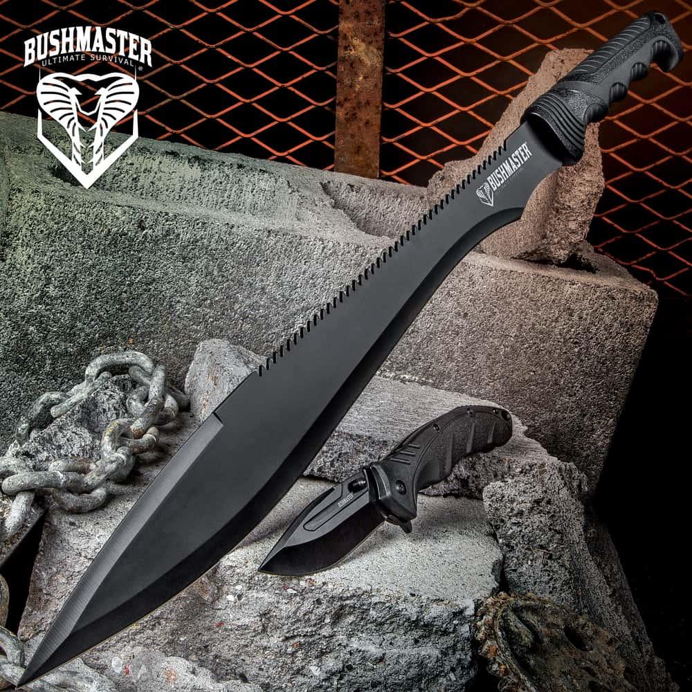 New Barong Machete with Carbon Sharp Blade Durable Buckshot Hand Guard Survival Full Tang Black Blade Green Sheath