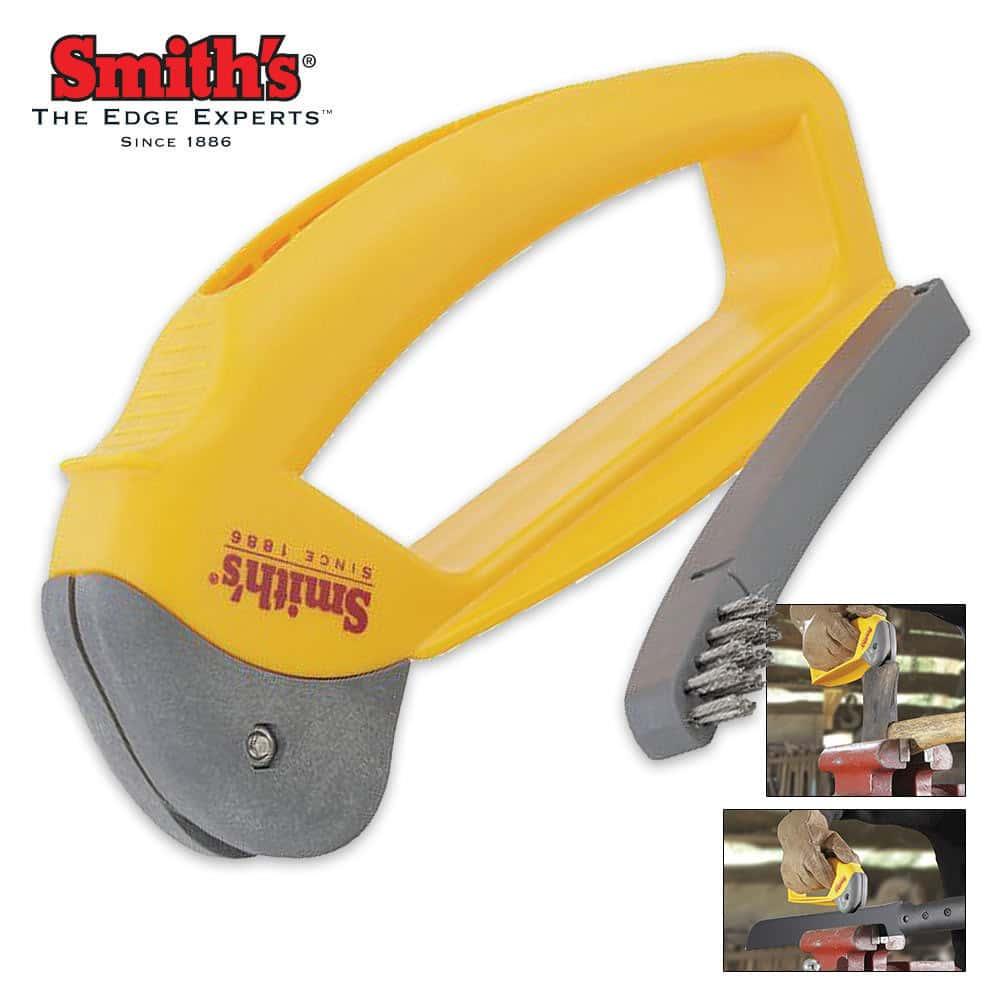 Smith/'s Axe /& Machete Hatchet Sharpener Cleaning Brush Safety Guard