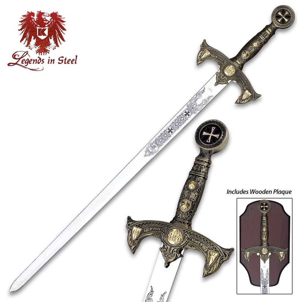 Large Wooden Crusader Knight Practice Sword