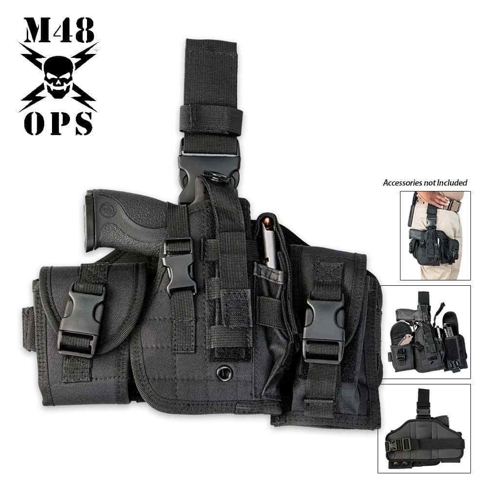 Black Tactical Drop Leg Holster Fits COMPACT /& FULL SIZE Pistols