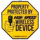 "Wireless Device Warning Sign With Stake - Tough Plastic Construction, Weather-Resistant Artwork - 29"" Tall"