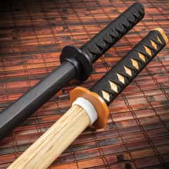 Practice Training Katana Set - Two Bokkens, Hardwood Construction, Cord-Wrapped Handles, Two-Piece Handguards - Length 40""