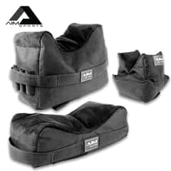 AIM Front And Rear Shooting Bags - Set Of Three, 600D Polyester Construction, Weather-Resistant, ABS Quick-Release Buckle