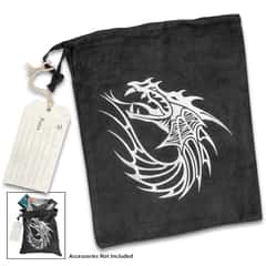 "Dragon Gift Bag With Hanger Tag - Black Velveteen Construction, Drawstring Closure, Printed Artwork - Dimensions 11 1/2""x 9 1/2"""