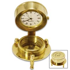 "Antique Replica Desk Compass And Clock With Stand - Solid Brass Construction, High-Polish Finish - Dimensions 1 9/10""x 2 3/10"""