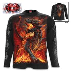 Draconis Black Long-Sleeve T-Shirt - Original Artwork, Front And Back, Jersey Material, Skin Friendly Dyes