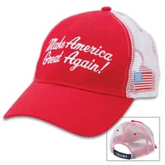 Red Trump Make America Great Hat - Trucker Style Cap, Cotton Twill Construction, Polyester Mesh Back, Velcro Back Strap