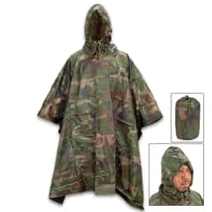 "Angolan Woodland Camo Poncho With Carry Bag - Like New, Rip-Stop Nylon Construction, Button Closure - Dimensions 57""x 81"""