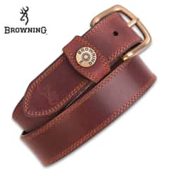 "Browning Men's Leather Slug Belt - Brown, Genuine Leather, Contrast Stitching, Shotshell Detail, Metal Alloy Buckle, 1 1/2"" Width"